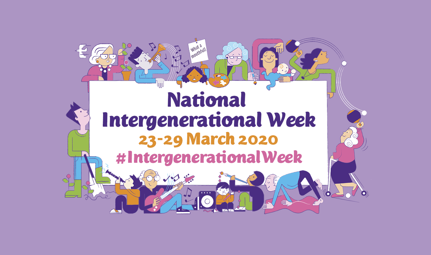 An illustrated cartoon shows different ages together celebrating National Intergenerational Week