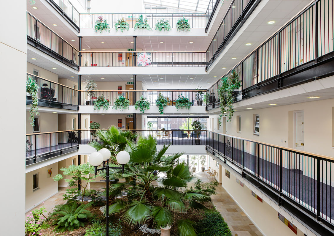The interior atrium of Monica Wills House