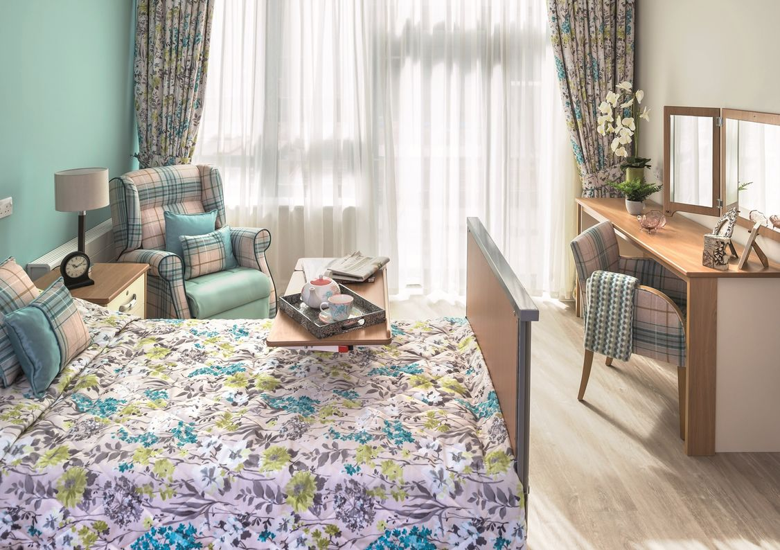 Inside a bedroom at Charterhouse Care Home in Bristol