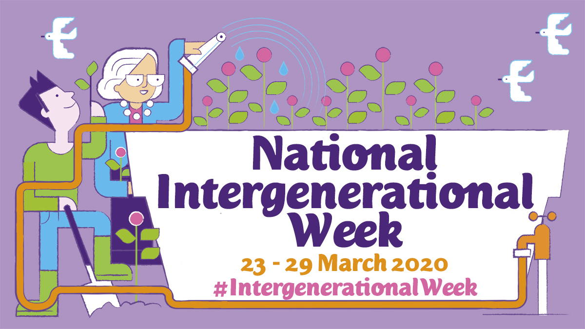 Illustrated Twitter graphic for National Intergenerational Week shows a young man and older lady planting a tree together
