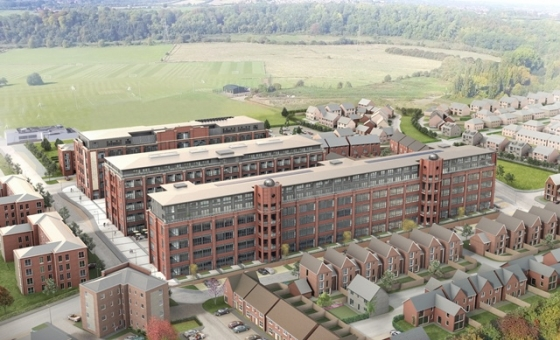 An aerial view of the three iconic red brick blocks that make up the Chocolate Quarter